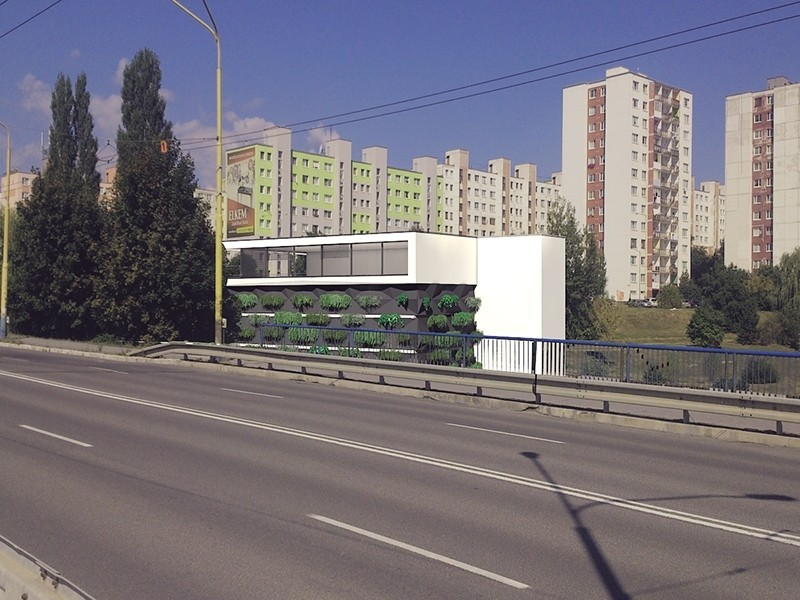 Pohľad z Moskovskej - fasáda so zeleňou