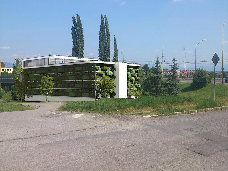 Pohľad z Wuppertálskej - fasáda  so zeleňou